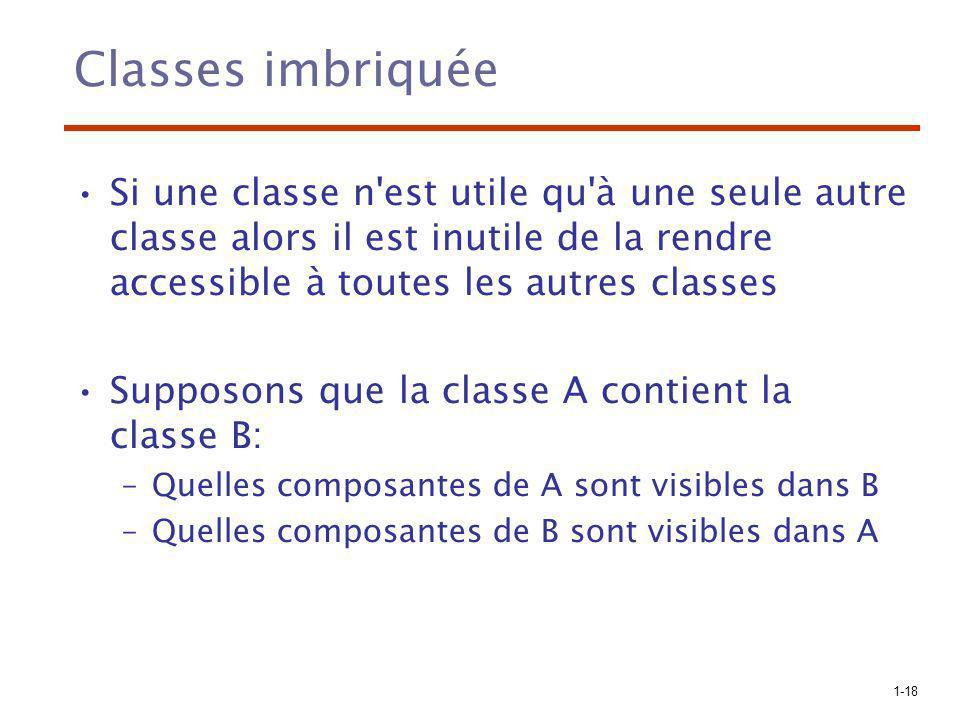 Classes imbriquée Si une classe n est utile qu à une seule autre classe alors il est inutile de la rendre accessible à toutes les autres classes.