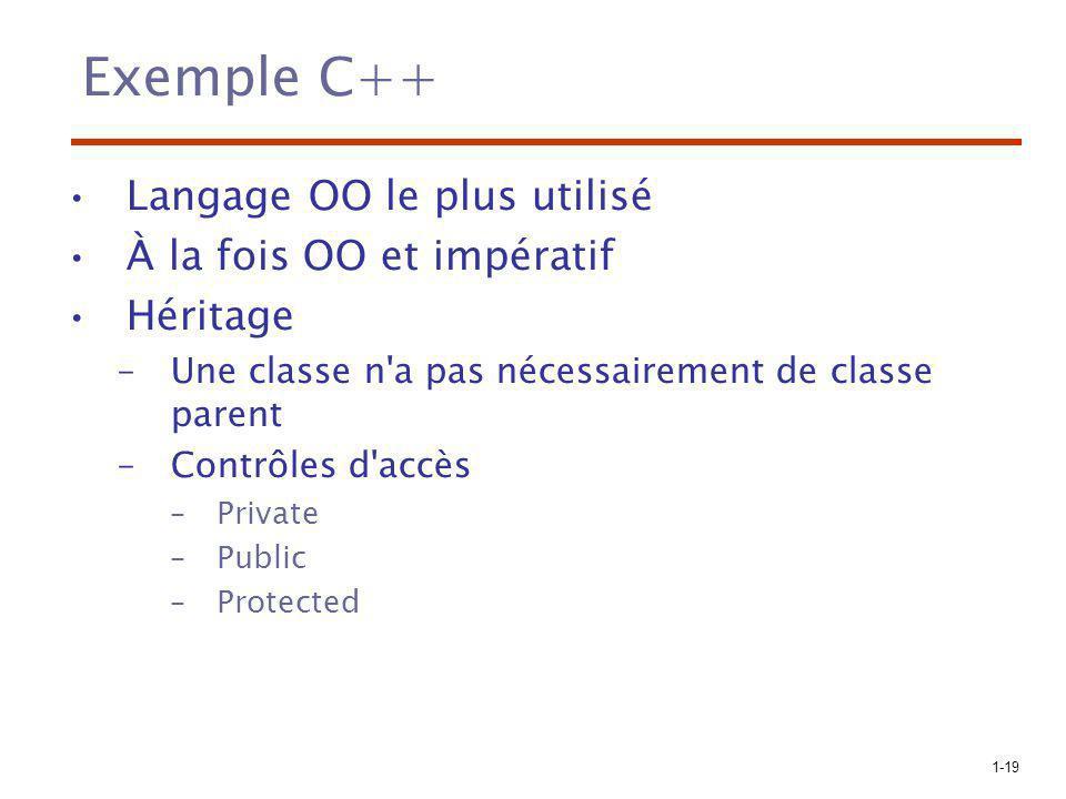 Exemple C++ Langage OO le plus utilisé À la fois OO et impératif