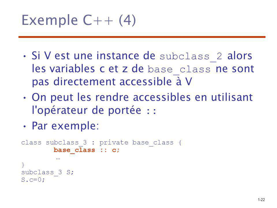 Exemple C++ (4) Si V est une instance de subclass_2 alors les variables c et z de base_class ne sont pas directement accessible à V.