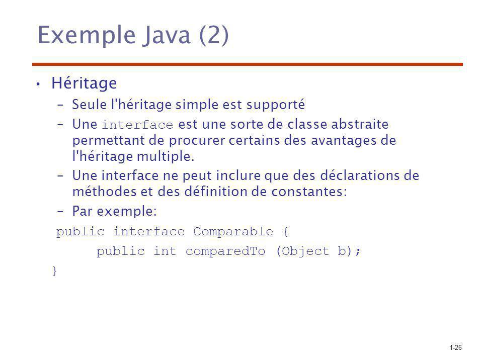 Exemple Java (2) Héritage Seule l héritage simple est supporté