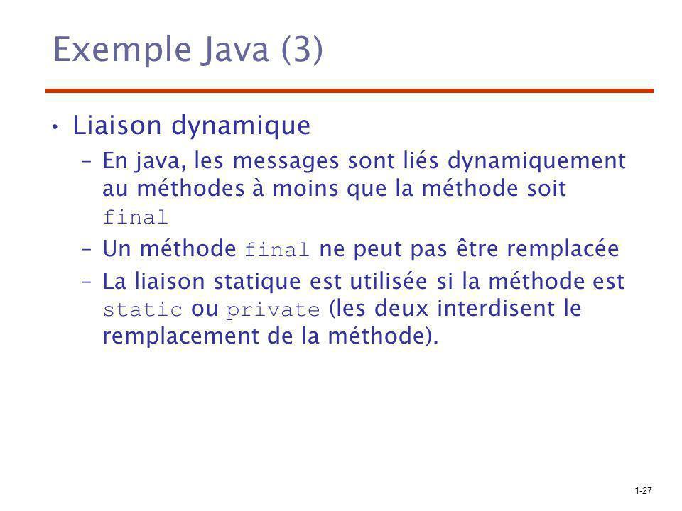 Exemple Java (3) Liaison dynamique