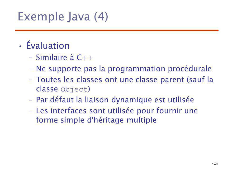 Exemple Java (4) Évaluation Similaire à C++