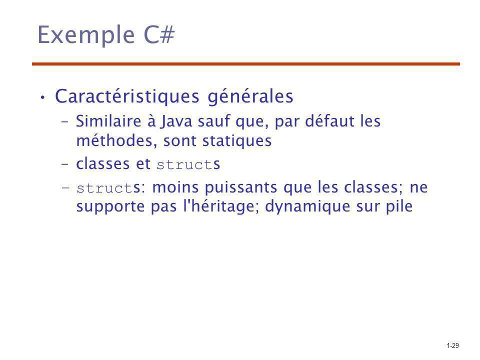 Exemple C# Caractéristiques générales