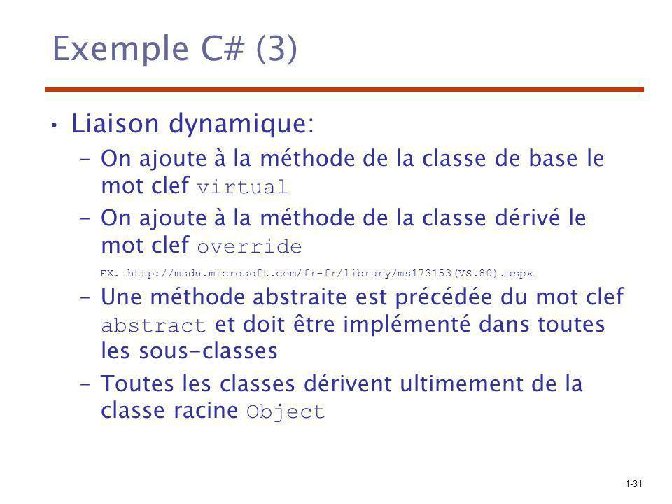Exemple C# (3) Liaison dynamique: