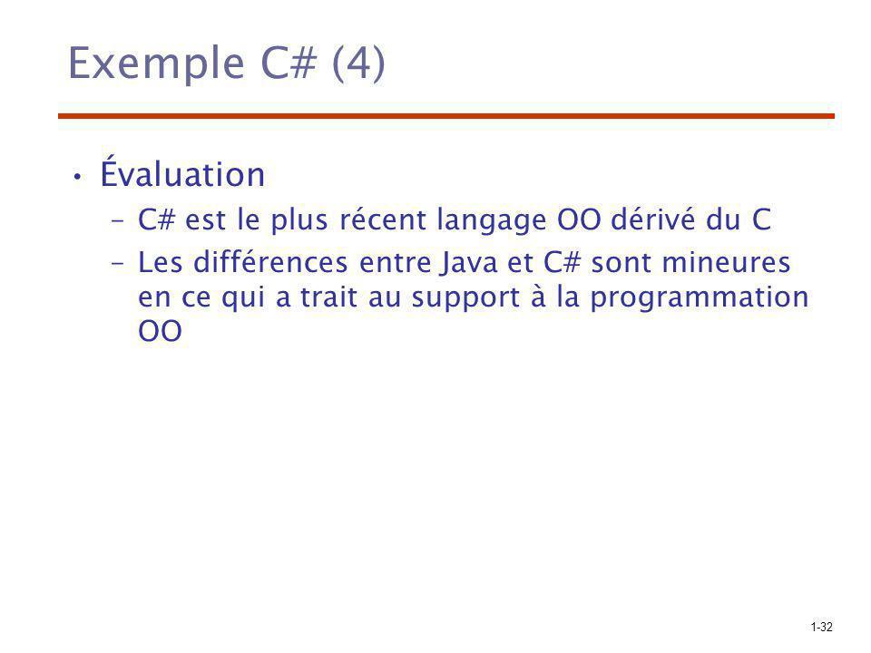 Exemple C# (4) Évaluation C# est le plus récent langage OO dérivé du C
