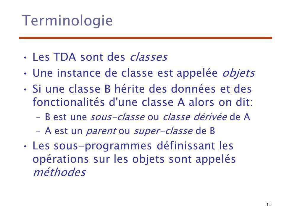 Terminologie Les TDA sont des classes