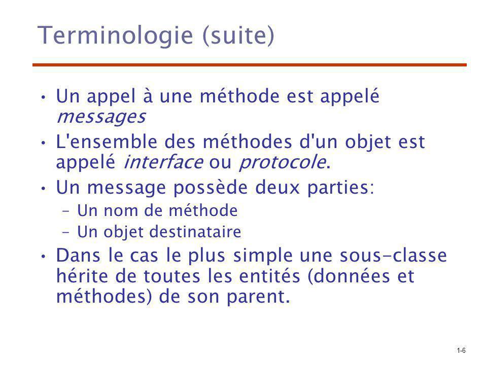 Terminologie (suite) Un appel à une méthode est appelé messages