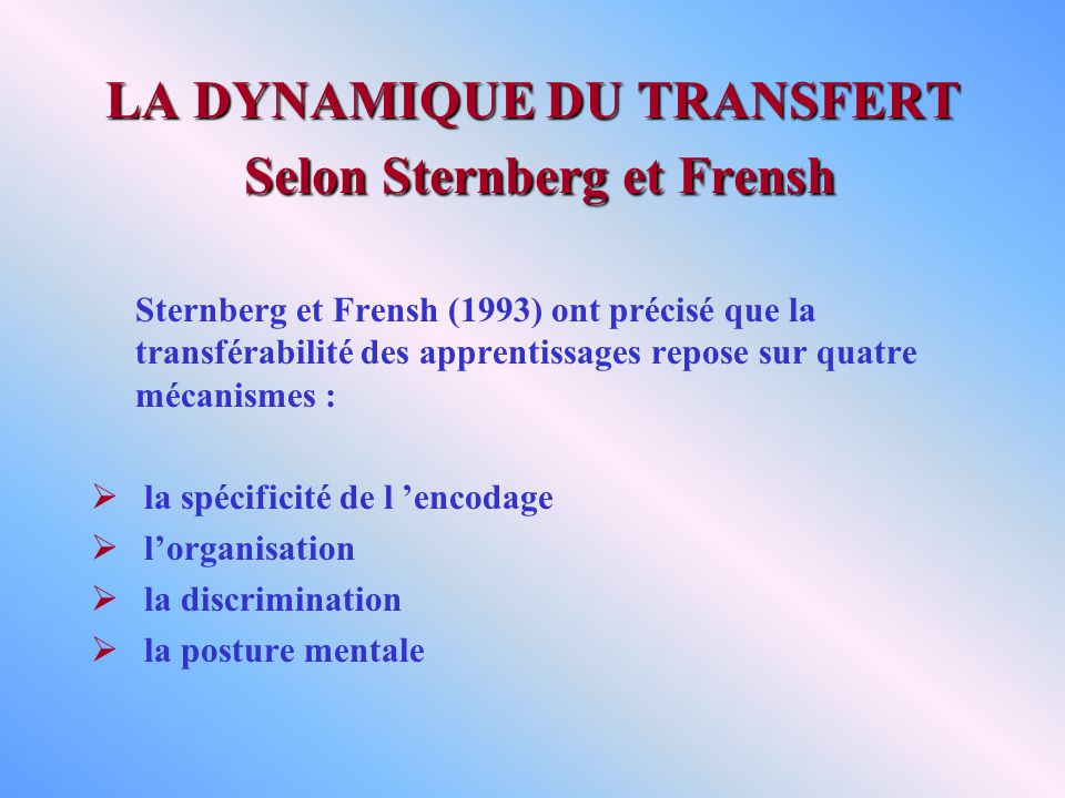 LA DYNAMIQUE DU TRANSFERT Selon Sternberg et Frensh