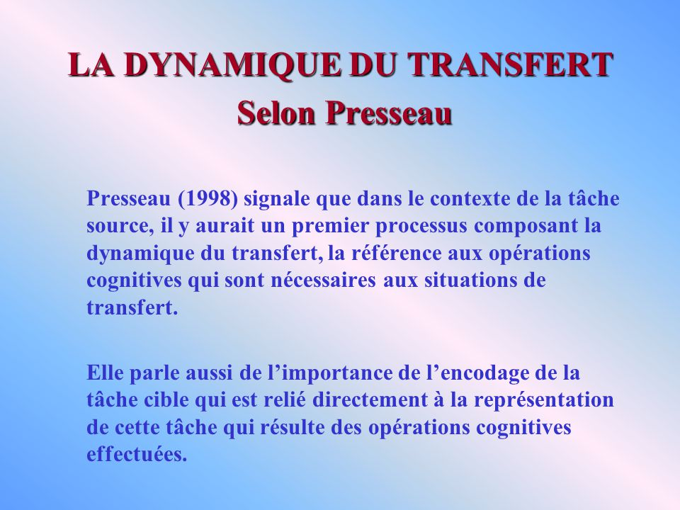 LA DYNAMIQUE DU TRANSFERT Selon Presseau