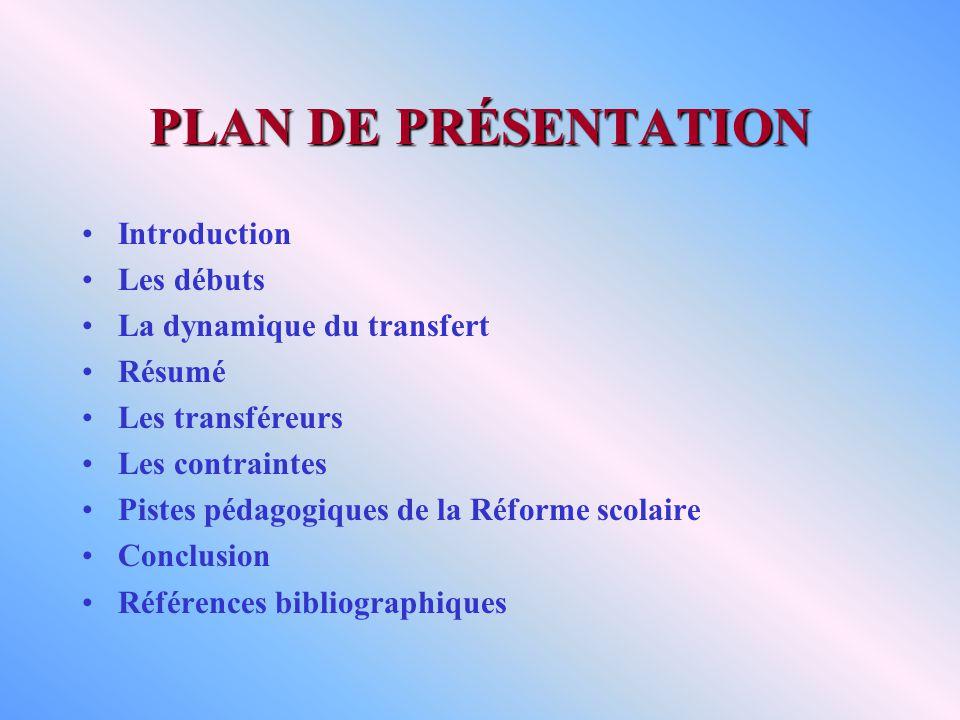 PLAN DE PRÉSENTATION Introduction Les débuts La dynamique du transfert