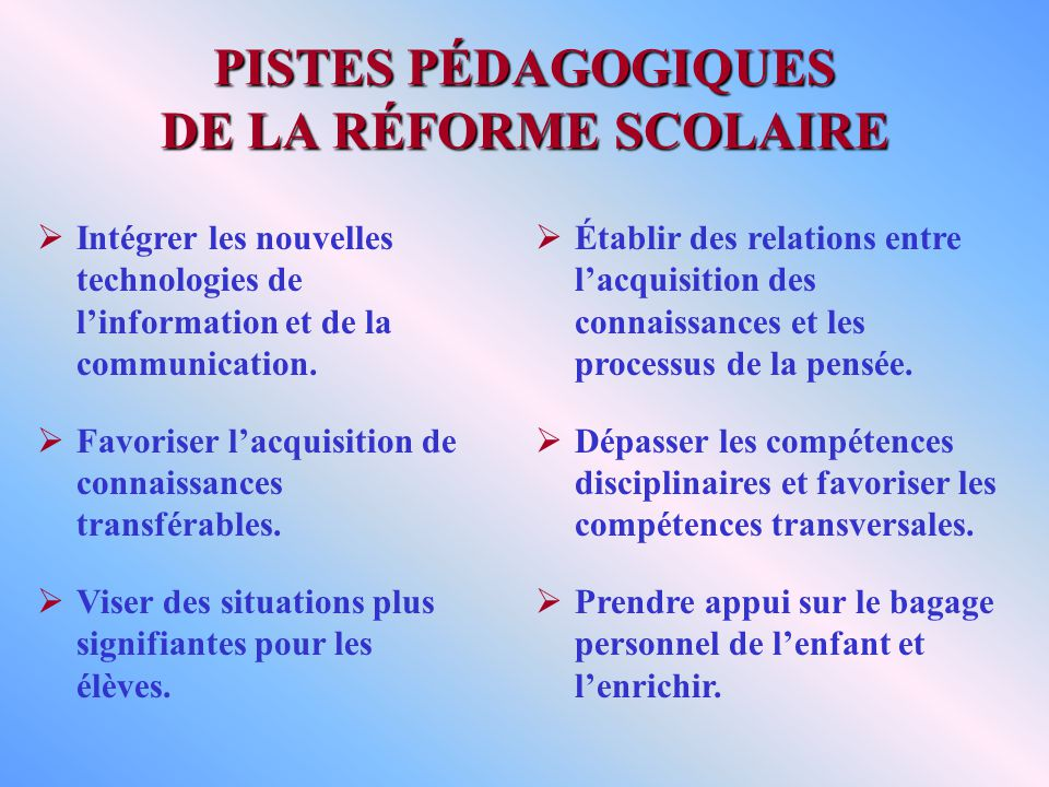 PISTES PÉDAGOGIQUES DE LA RÉFORME SCOLAIRE