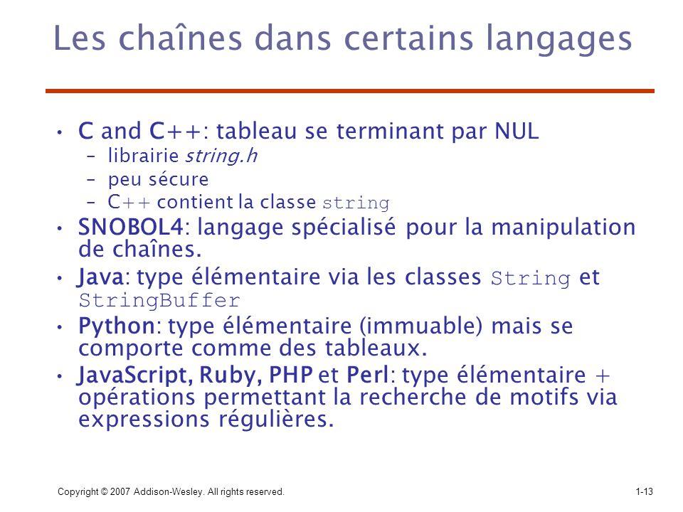 Les chaînes dans certains langages