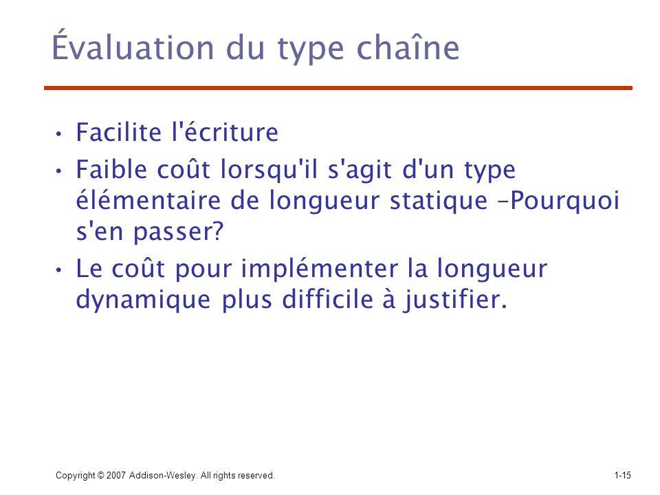 Évaluation du type chaîne