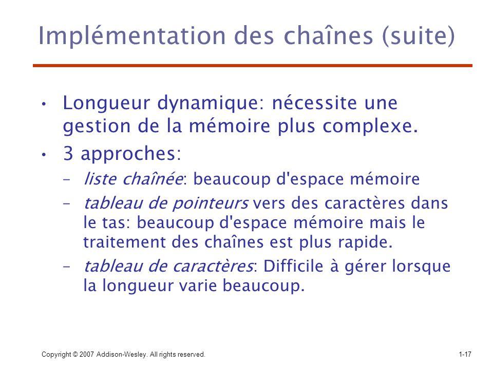 Implémentation des chaînes (suite)