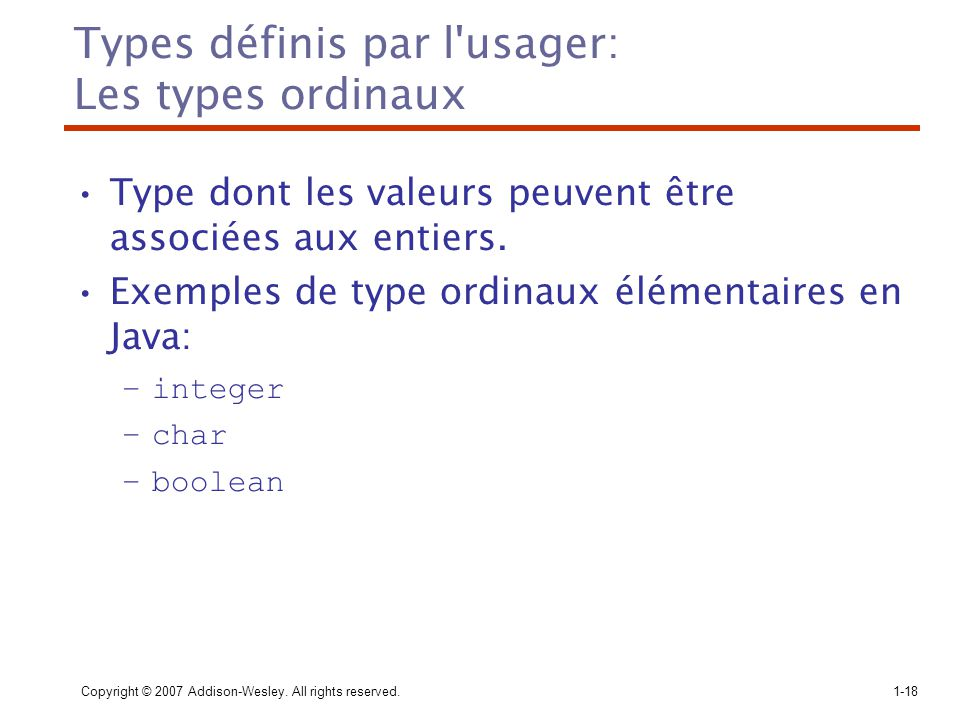 Types définis par l usager: Les types ordinaux