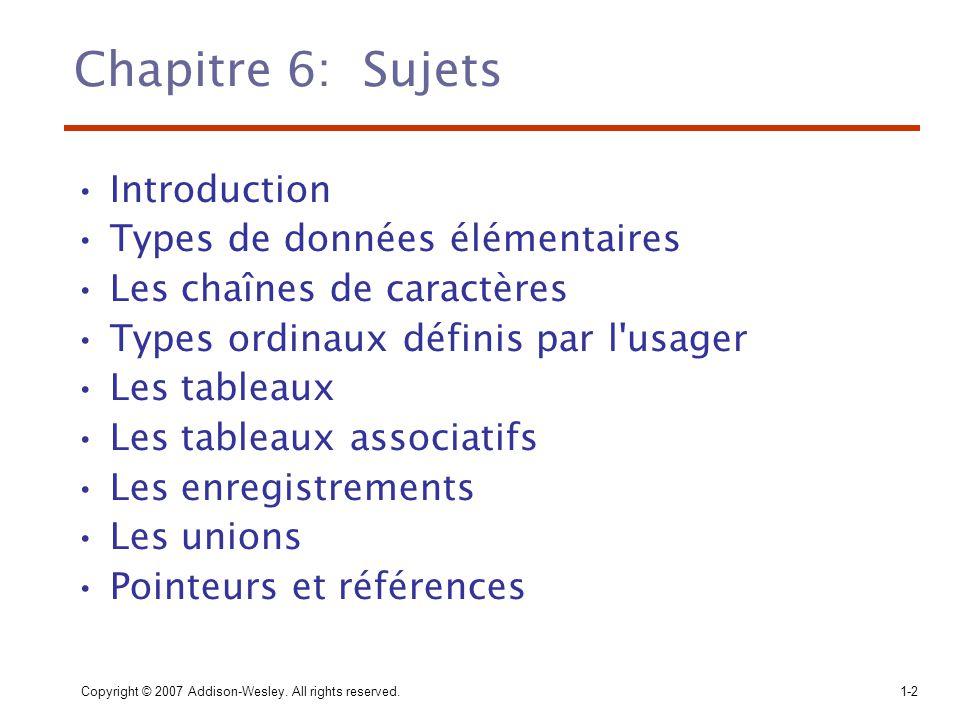 Chapitre 6: Sujets Introduction Types de données élémentaires