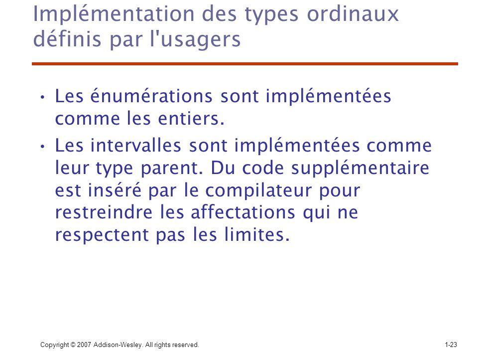 Implémentation des types ordinaux définis par l usagers
