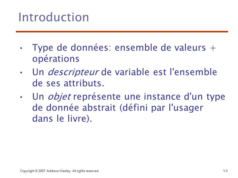 Introduction Type de données: ensemble de valeurs + opérations