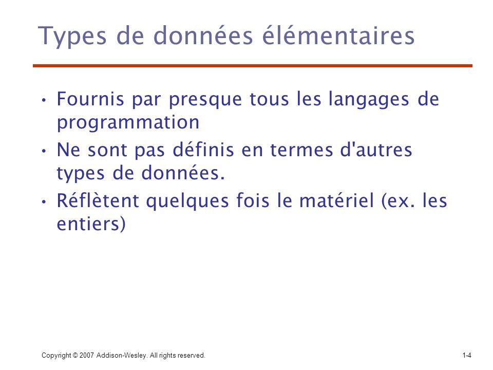 Types de données élémentaires