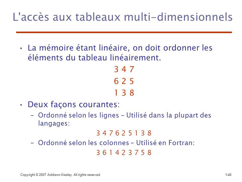 L accès aux tableaux multi-dimensionnels