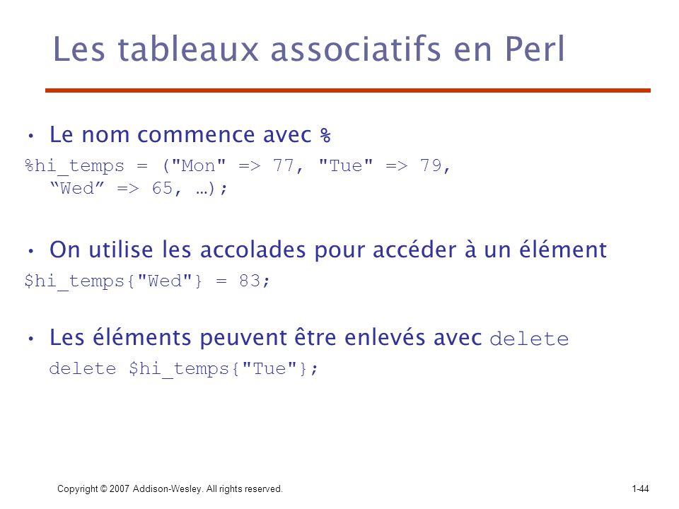 Les tableaux associatifs en Perl