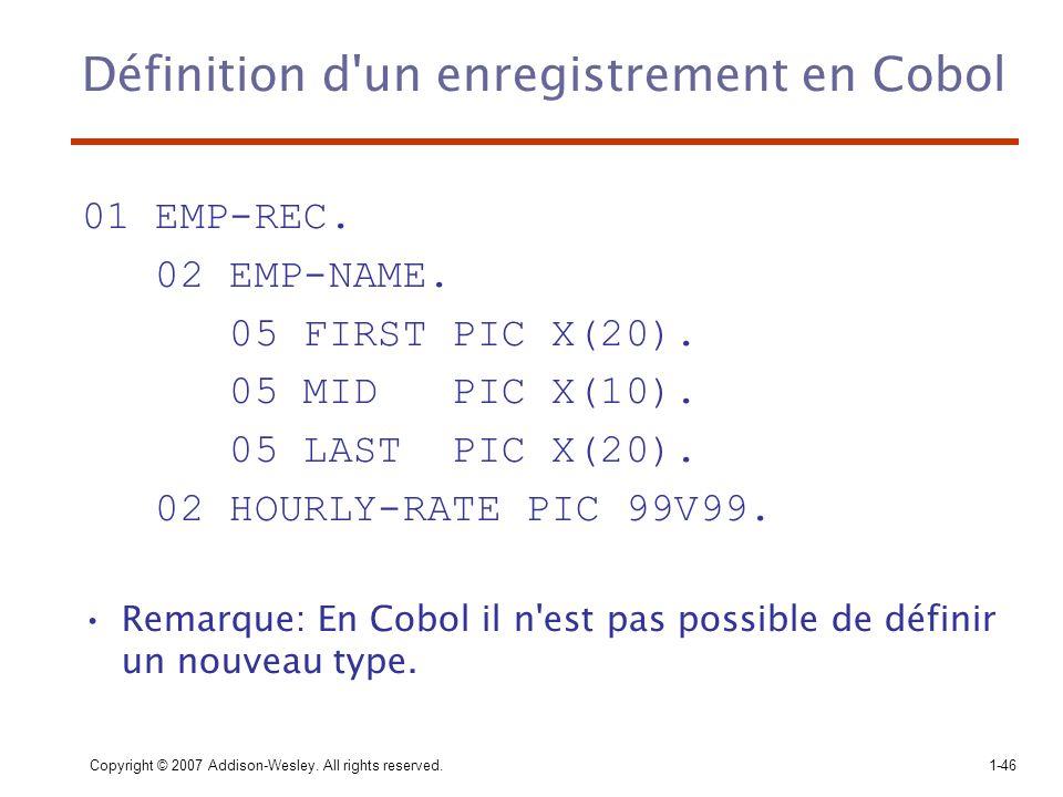 Définition d un enregistrement en Cobol