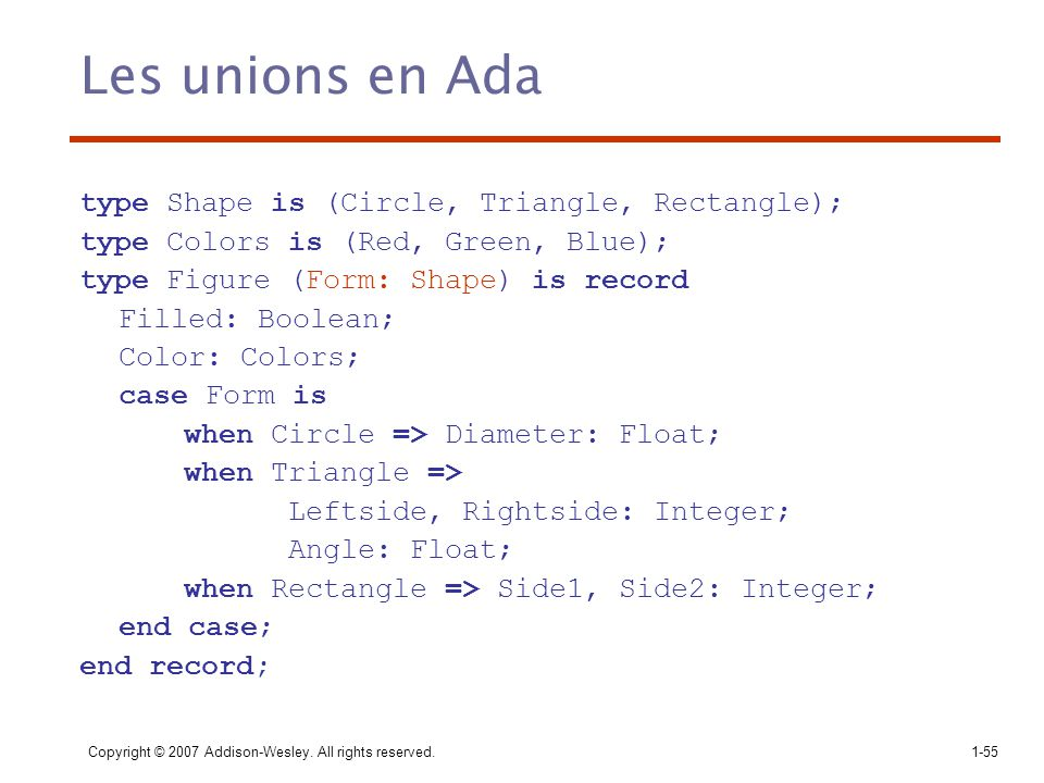 Les unions en Ada type Shape is (Circle, Triangle, Rectangle);