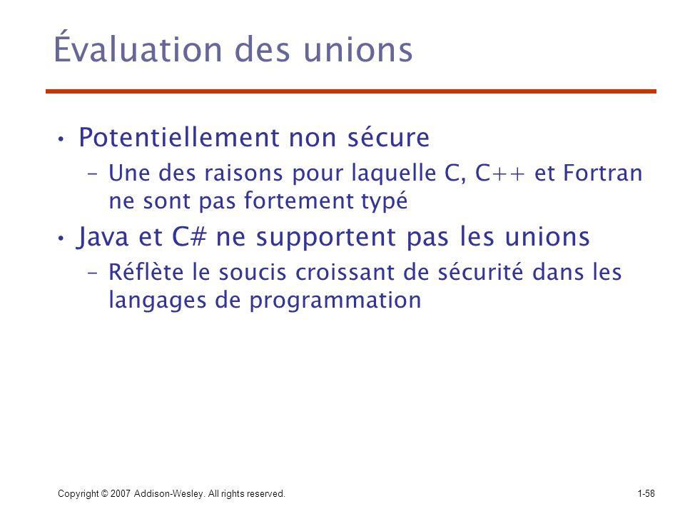 Évaluation des unions Potentiellement non sécure