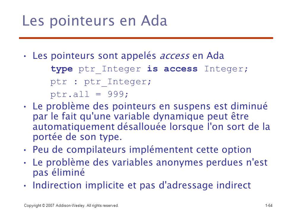 Les pointeurs en Ada Les pointeurs sont appelés access en Ada