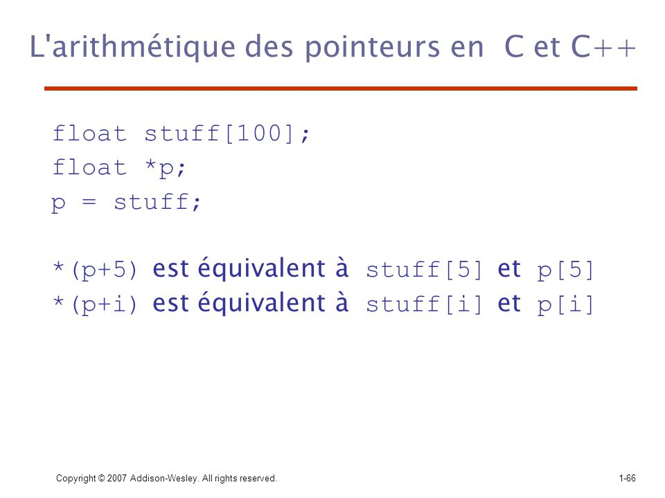 L arithmétique des pointeurs en C et C++