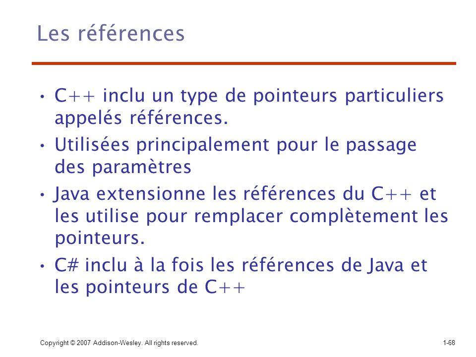 Les références C++ inclu un type de pointeurs particuliers appelés références. Utilisées principalement pour le passage des paramètres.