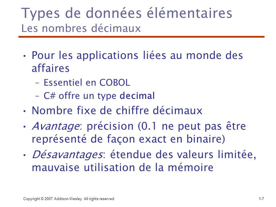 Types de données élémentaires Les nombres décimaux