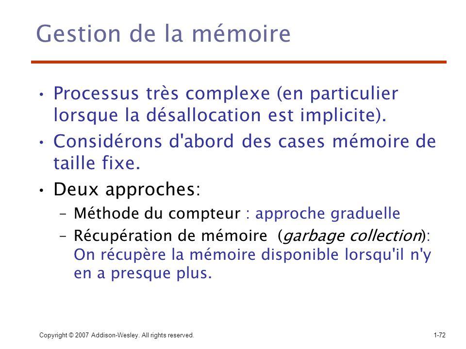 Gestion de la mémoire Processus très complexe (en particulier lorsque la désallocation est implicite).