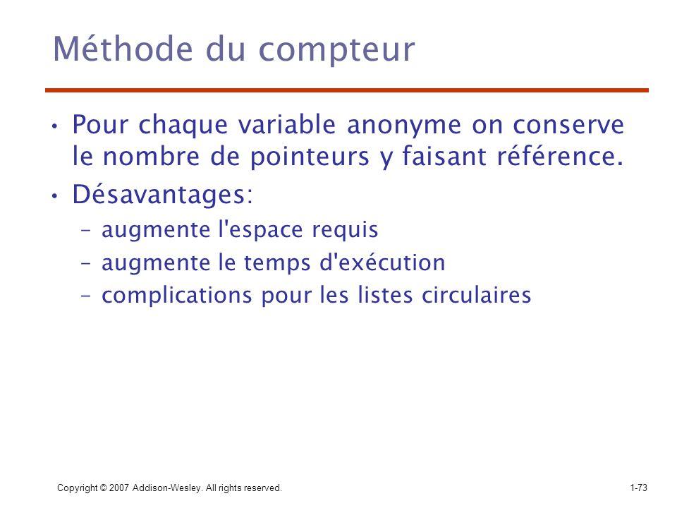 Méthode du compteur Pour chaque variable anonyme on conserve le nombre de pointeurs y faisant référence.