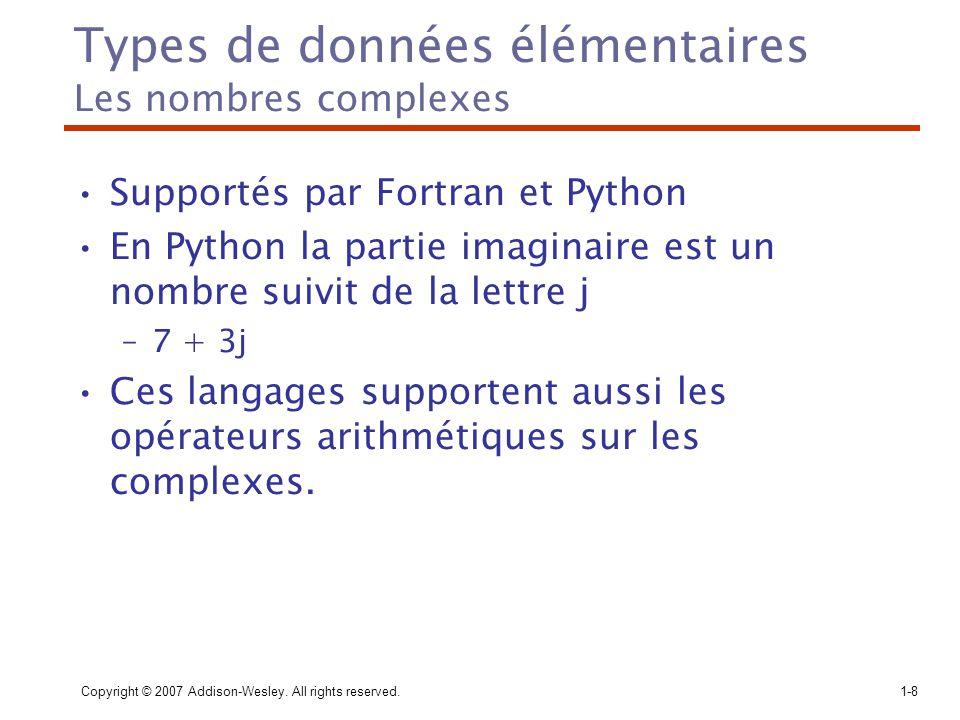 Types de données élémentaires Les nombres complexes