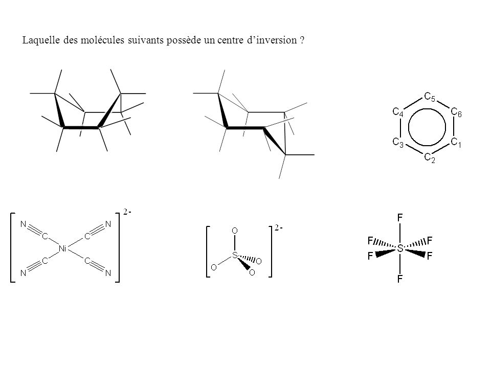 Laquelle des molécules suivants possède un centre d'inversion