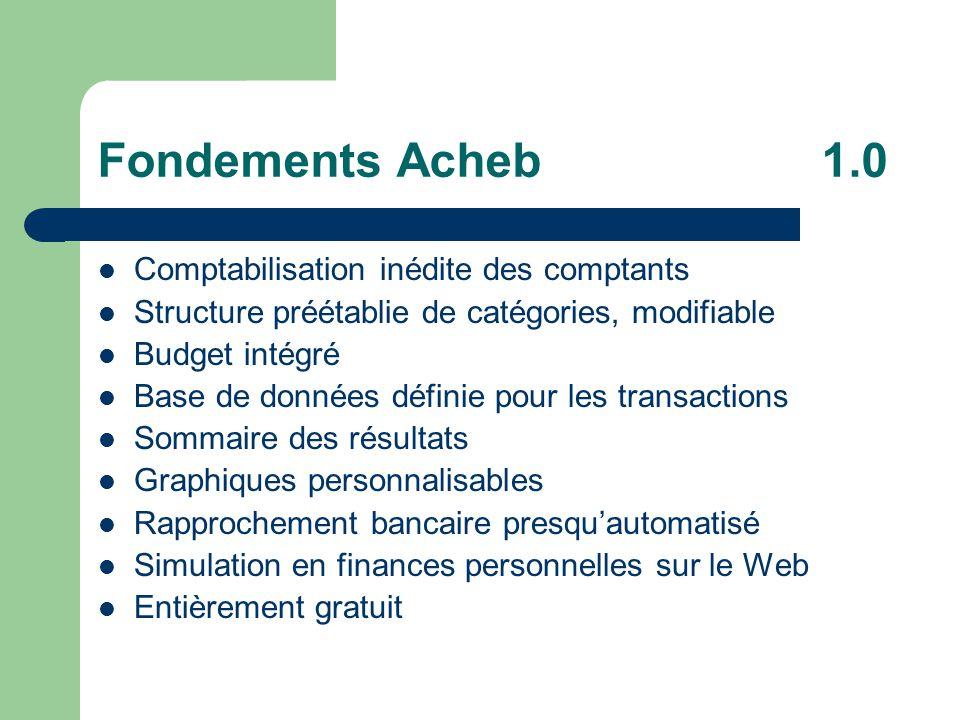 Fondements Acheb 1.0 Comptabilisation inédite des comptants