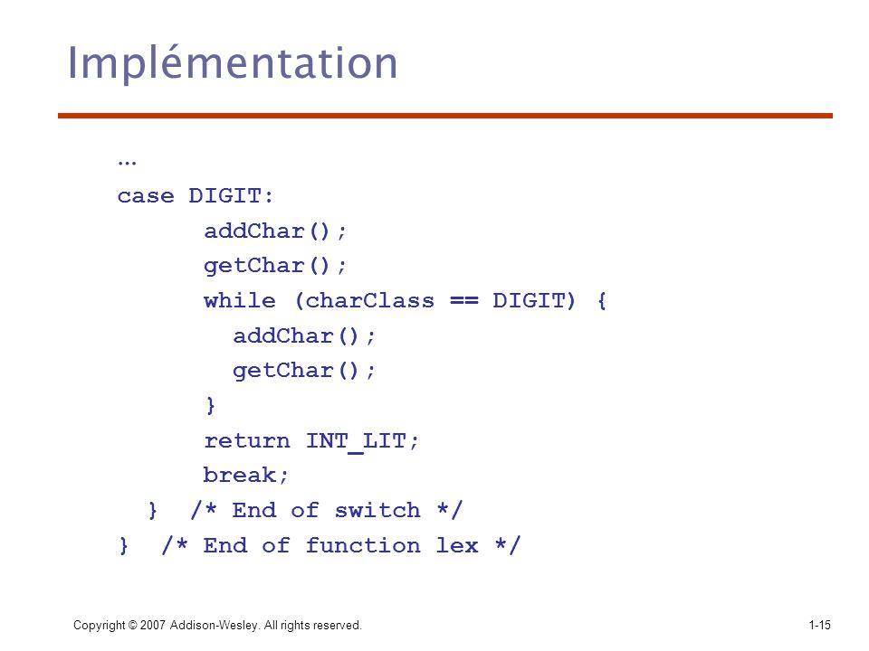 Implémentation … case DIGIT: addChar(); getChar();