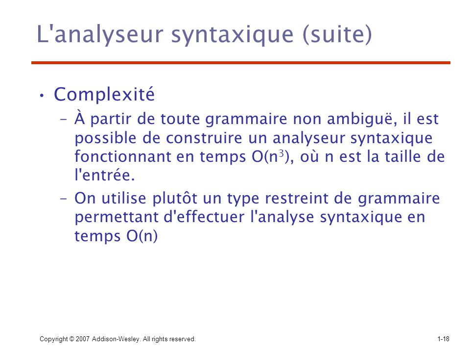 L analyseur syntaxique (suite)