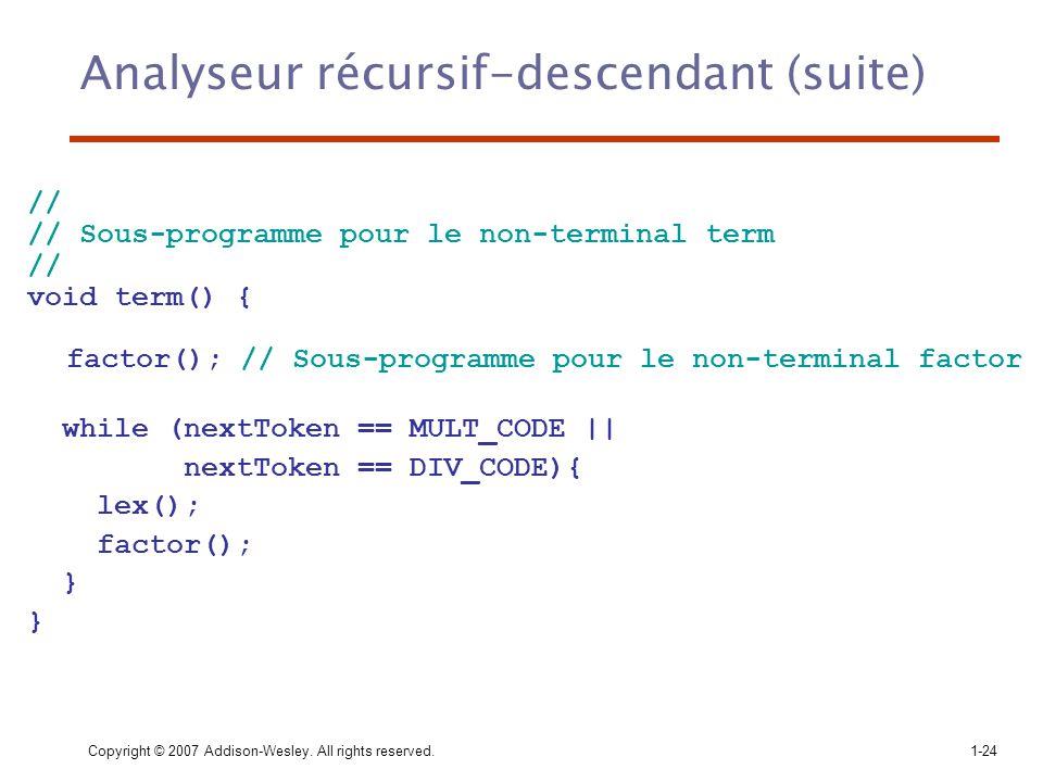 Analyseur récursif-descendant (suite)