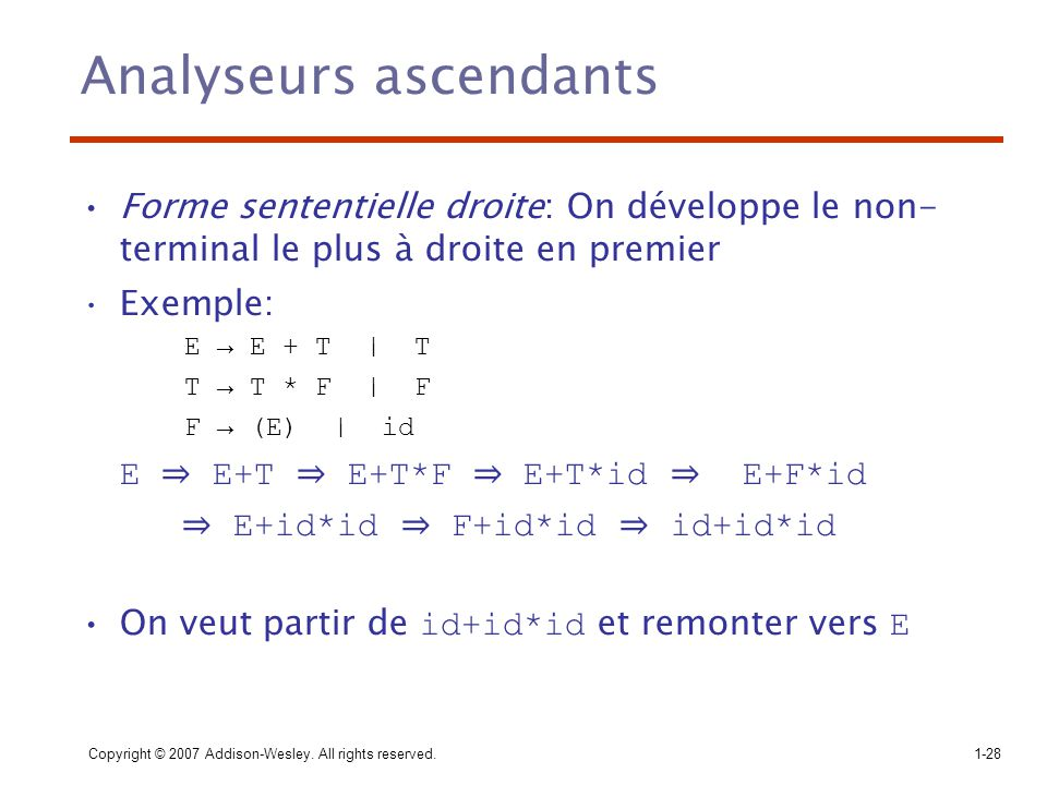 Analyseurs ascendants