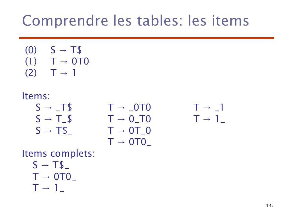 Comprendre les tables: les items