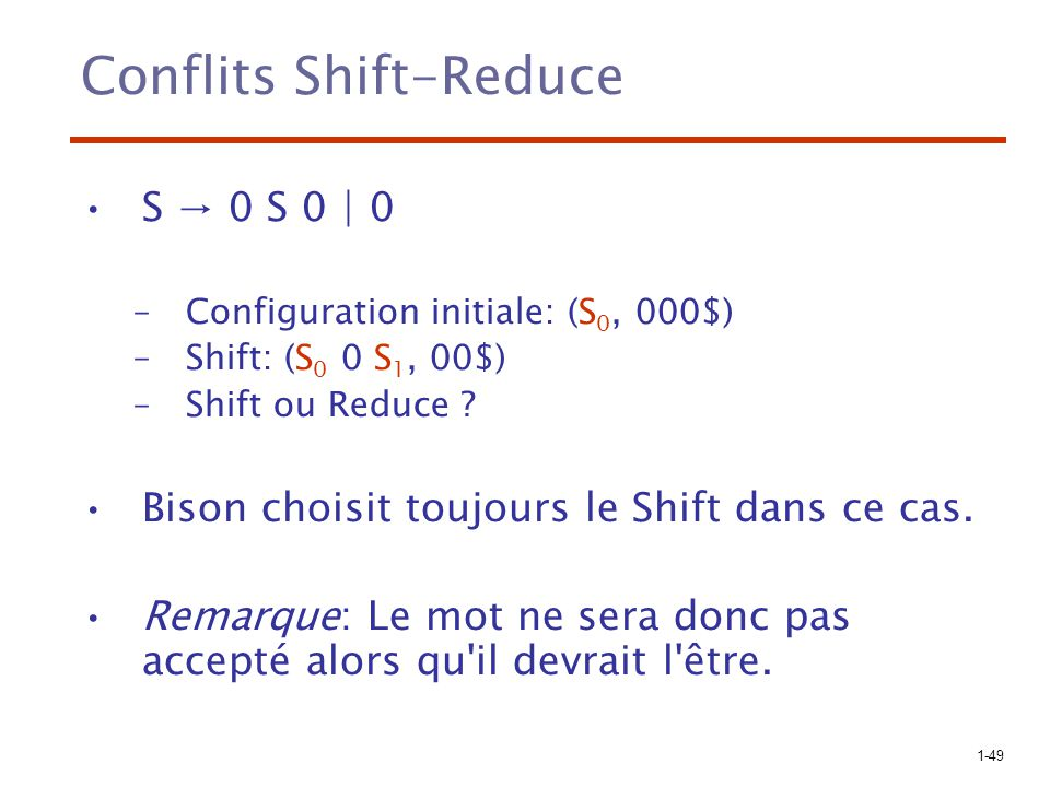 Conflits Shift-Reduce