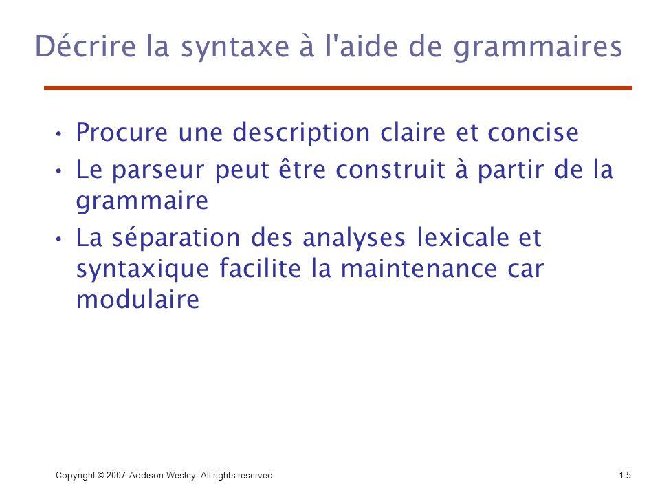 Décrire la syntaxe à l aide de grammaires