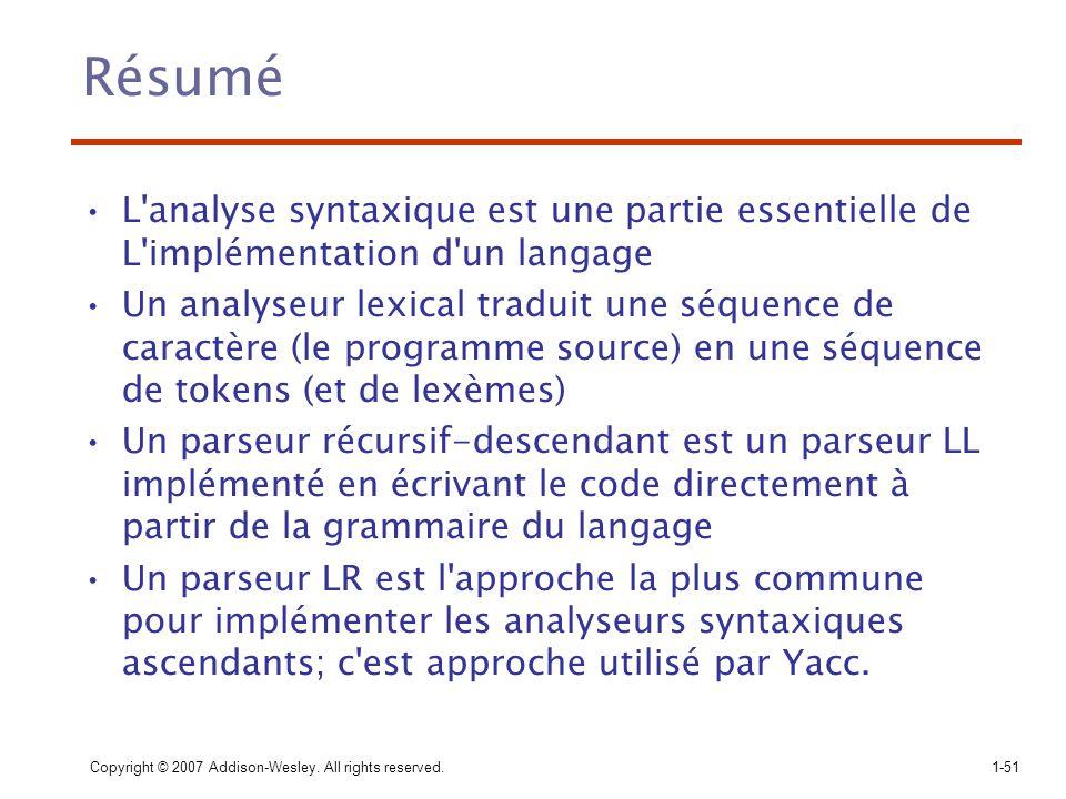 Résumé L analyse syntaxique est une partie essentielle de L implémentation d un langage.