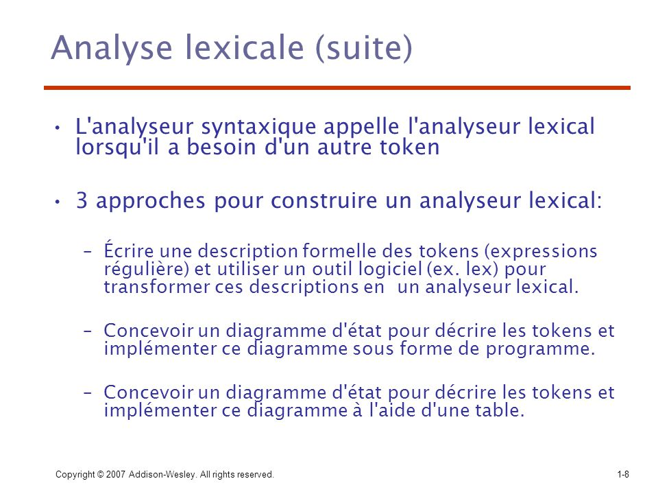 Analyse lexicale (suite)
