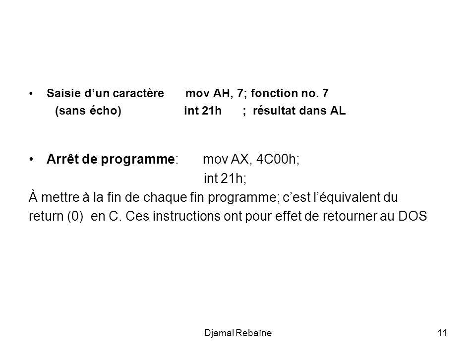 Arrêt de programme: mov AX, 4C00h; int 21h;