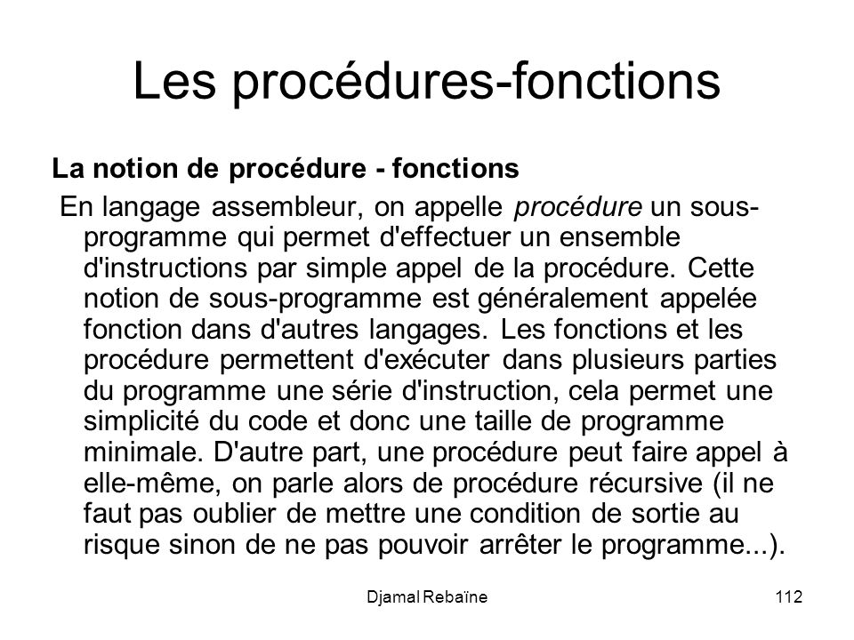 Les procédures-fonctions