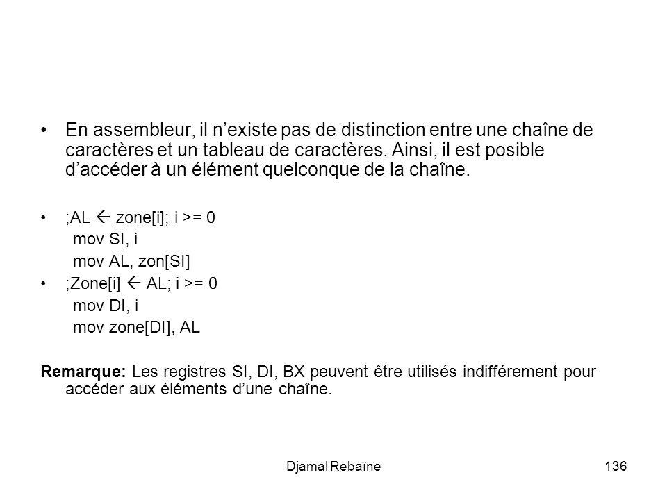 En assembleur, il n'existe pas de distinction entre une chaîne de caractères et un tableau de caractères. Ainsi, il est posible d'accéder à un élément quelconque de la chaîne.