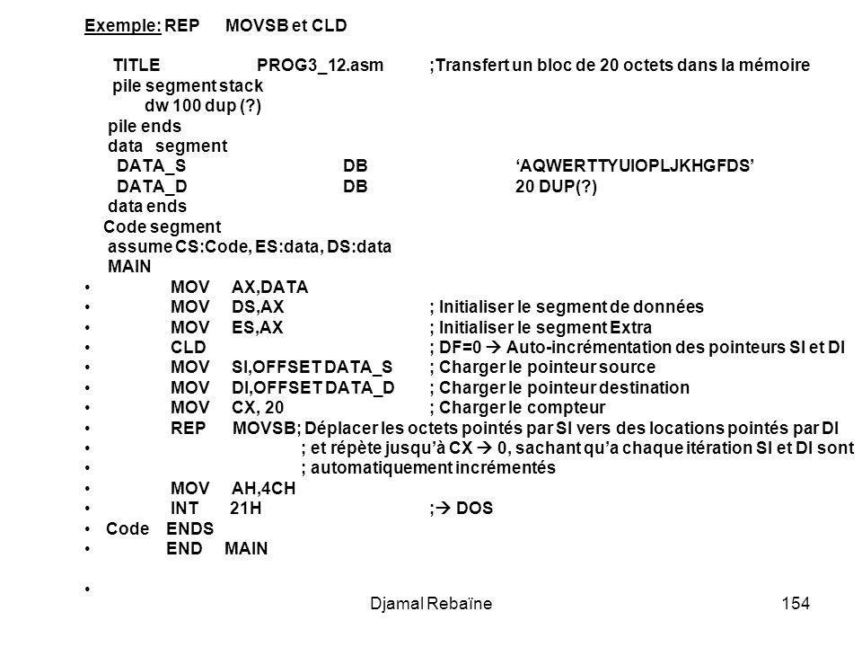 Exemple: REP MOVSB et CLD